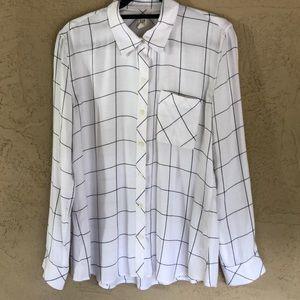GAP window pane plaid button front shirt